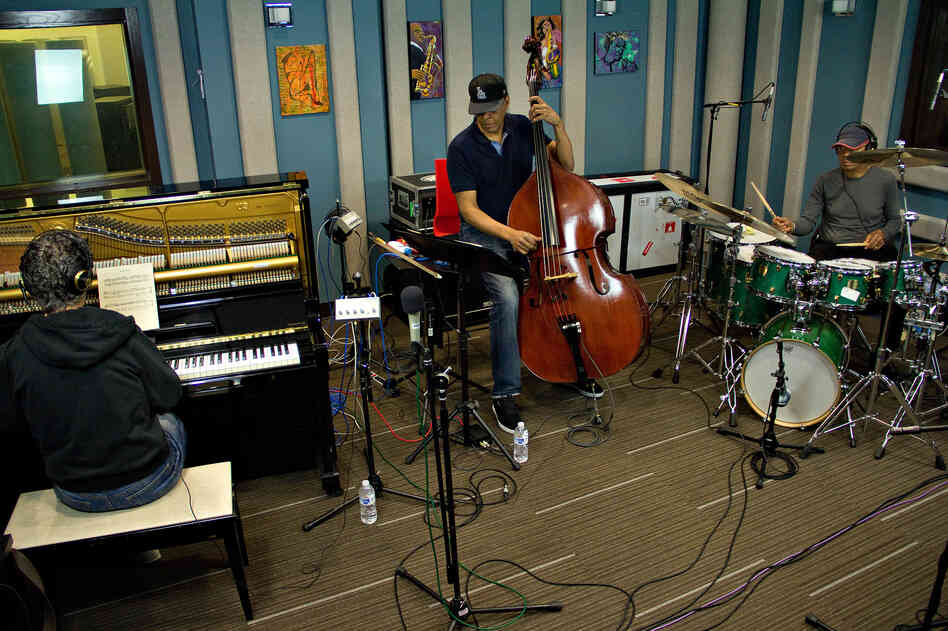 "From left, Chick Corea (piano), Stanley Clarke (bass) and Jack DeJohnette (drums) perform John Coltrane's ""Miles' Mode"" at the Jazz24 studios in Seattle."