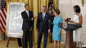 President Obama Hosts President Bush For Unveiling Of Official Portraits