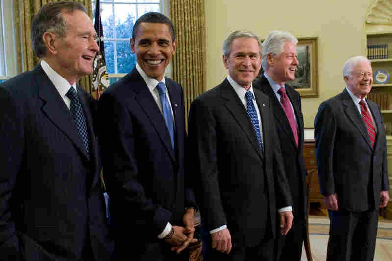 Meetings of current, former and future presidents are uncommon, and this one, on Jan. 7, 2009, was a once-in-28-years affair. From left, George H.W. Bush joins then-President-elect Obama, then-President George W. Bush and fellow former Presidents Bill Clinton and Jimmy Carter for lunch. It was the first time since 1981 that all living presidents had been together at the White House.