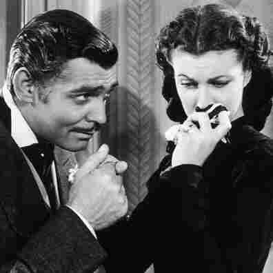 In mourning: Scarlett broods while Rhett Butler (Clark Gable) woos.