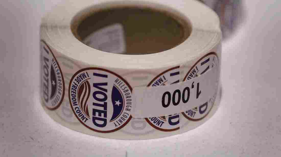 """""""I Voted"""" stickers are left ready for voters at a polling station on Jan. 31, the day of Florida's presidential primary, in Tampa."""