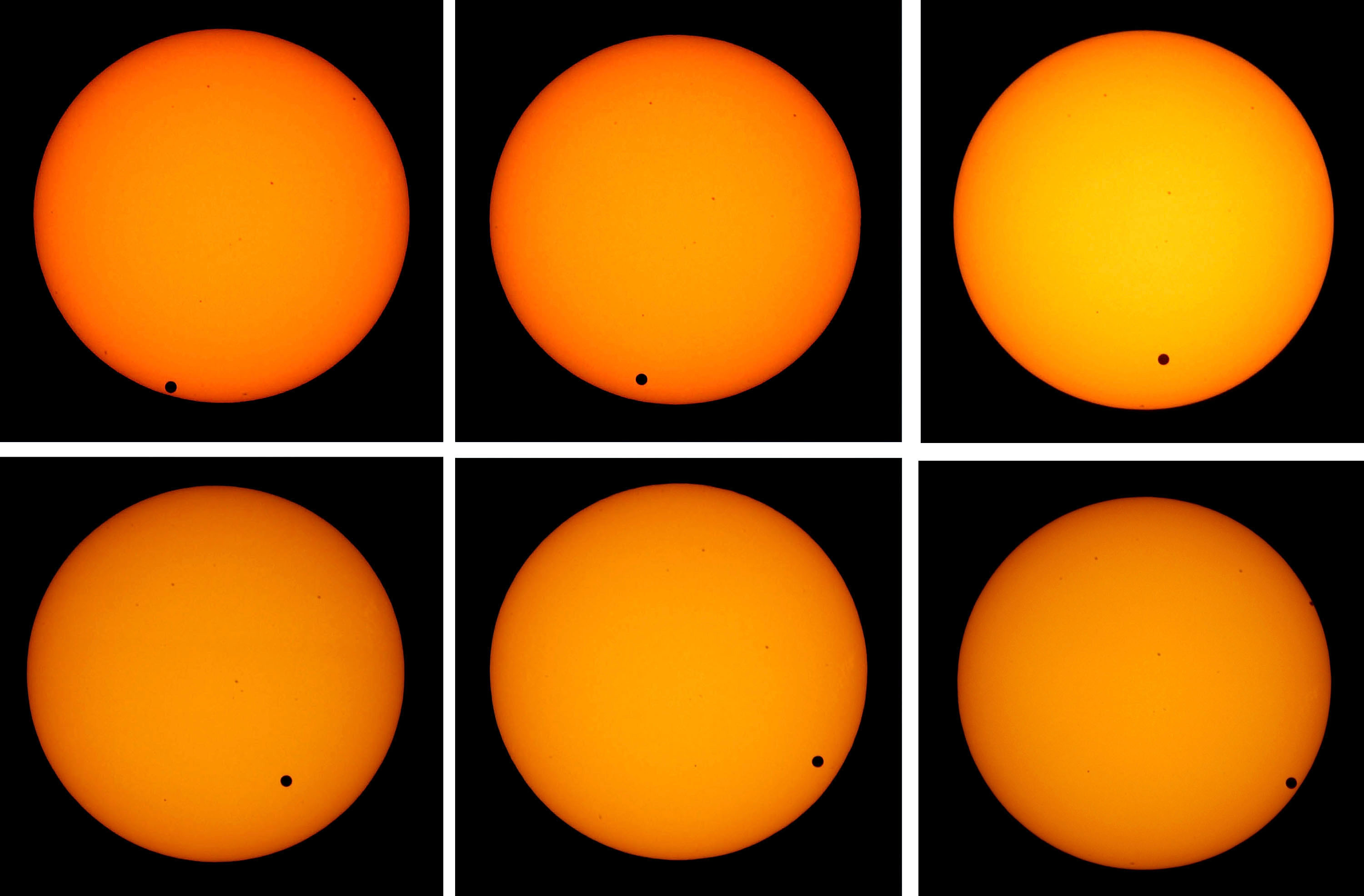 The Transit Of Venus: The planet Venus appears as a tiny black dot as it transits across the face of the sun on June 8, 2004. The rare astronomical event will take place again on June 5, 2012.