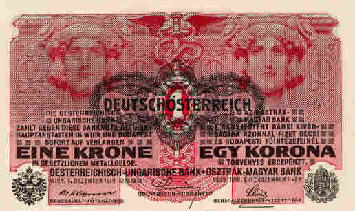 A one-crown note from the Austro-Hungarian empire.