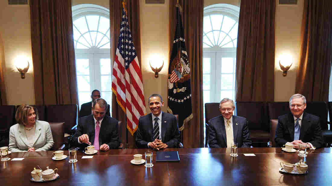See, they really can get along. President Obama met with bipartisan House and Senate leadership on fiscal policy including (from left) Nancy Pelosi, John Boehner, Harry Reid and Mitch McConnell last year in the Cabinet Room of the White House.