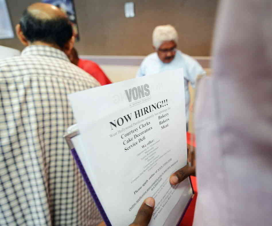 Hoping for work: Job seekrs lined up Thursday at a job fair in Los Angeles.