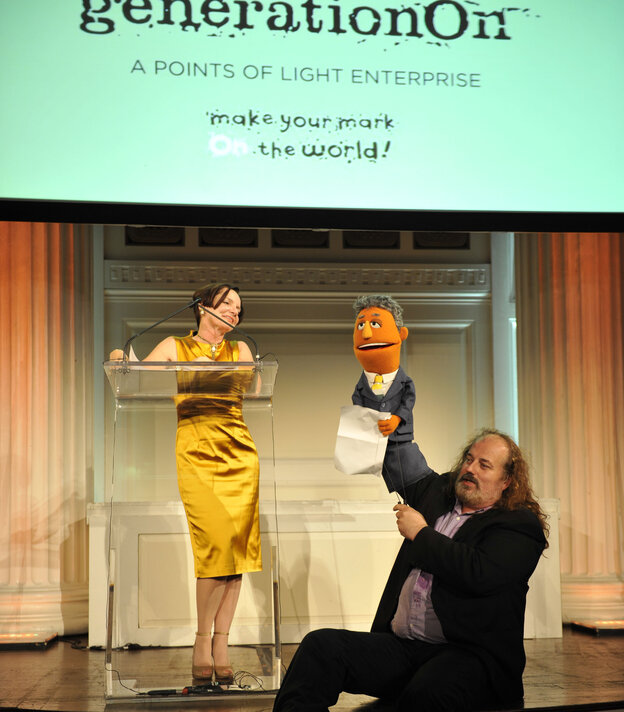 NPR's Jacki Lyden with Gary Knell, the Muppet, at GenerationOn's Annual Benefit.