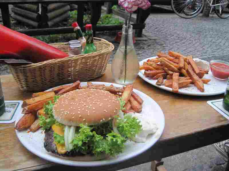 At Room 77, this cheeseburger will cost you 2 Bitcoin. That's about four Euro or five dollars.