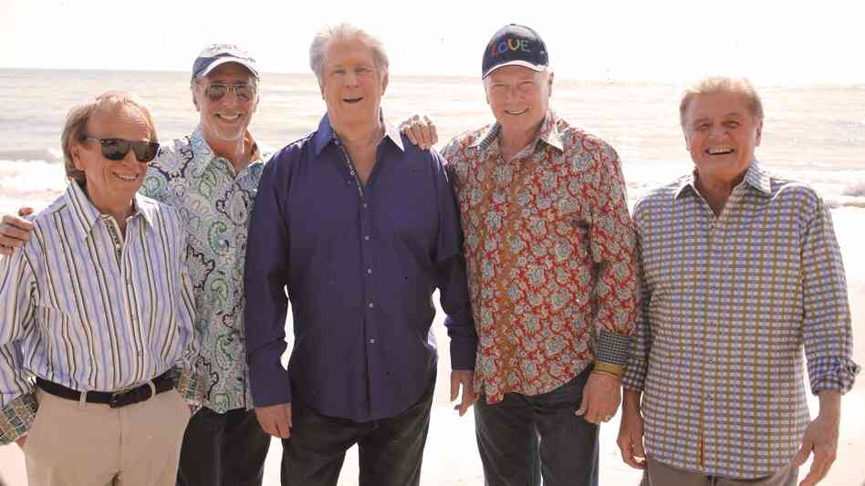 The Beach Boys' new album — the first collaboration in decades between founding members Brian Wilson (third from left) and Mike Love (second from right) — is called That's Why God Made the Radio.
