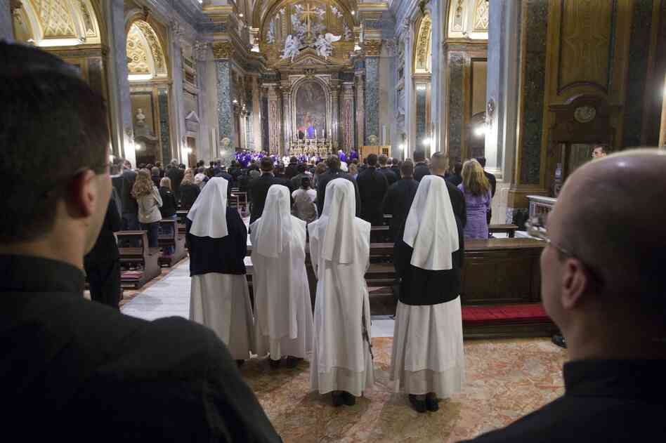 American nuns attend Mass at Sant'Apollinare in Rome.