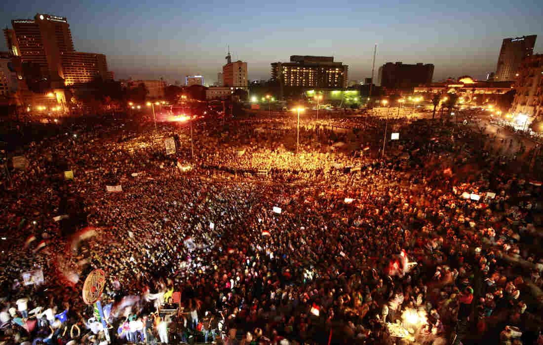 Egyptians gather at Tahrir Square in Cairo to call for a new revolution Saturday. A court sentenced ousted President Hosni Mubarak and his interior minister to life in prison, but acquitted six security chiefs in the deaths of protesters last year.