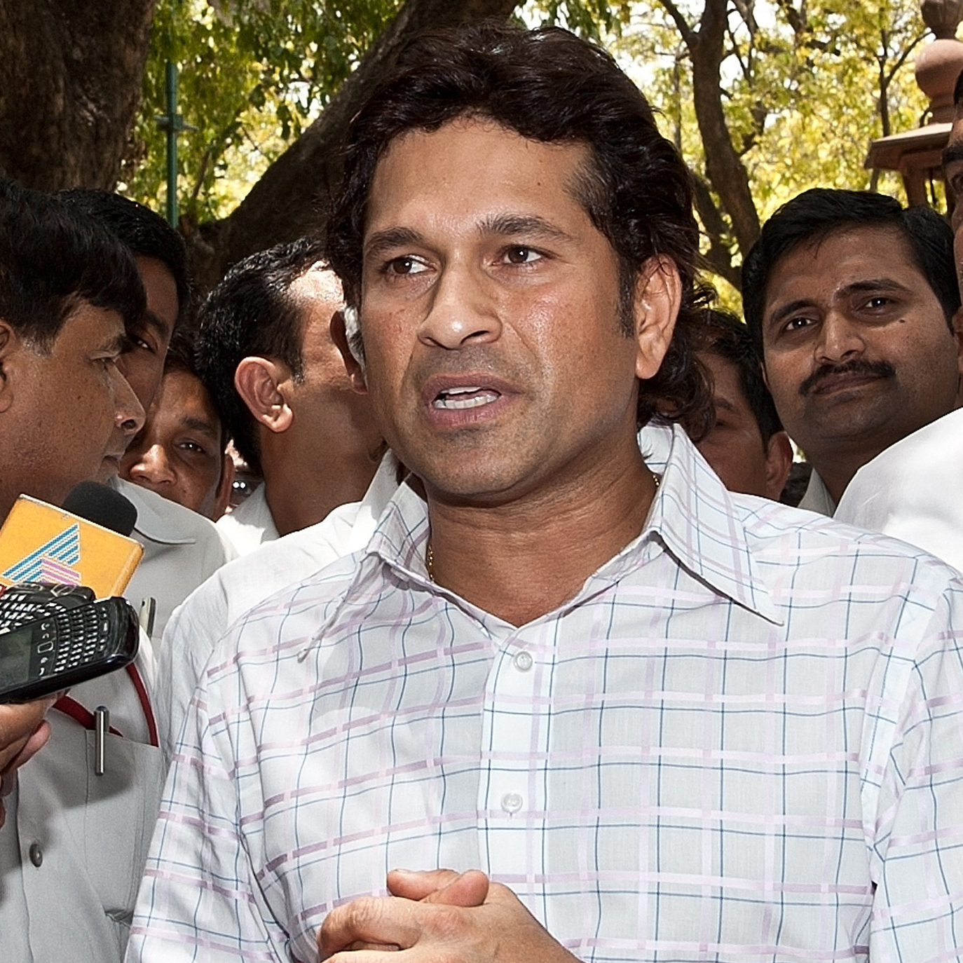 Indian cricketer Sachin Tendulkar after taking the oath of office today in New Delhi.