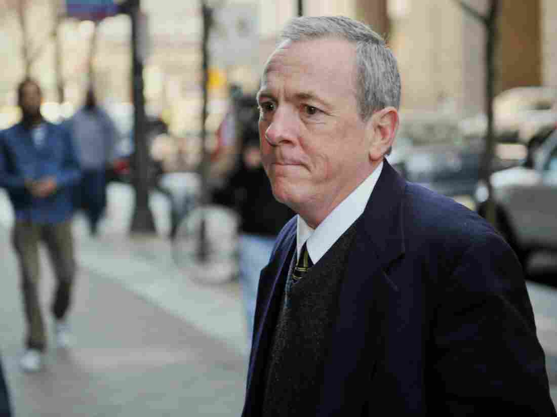 The Rev. James Brennan returns after a lunch break to Philadelphia Criminal Justice Center Mar. 26, 2012.