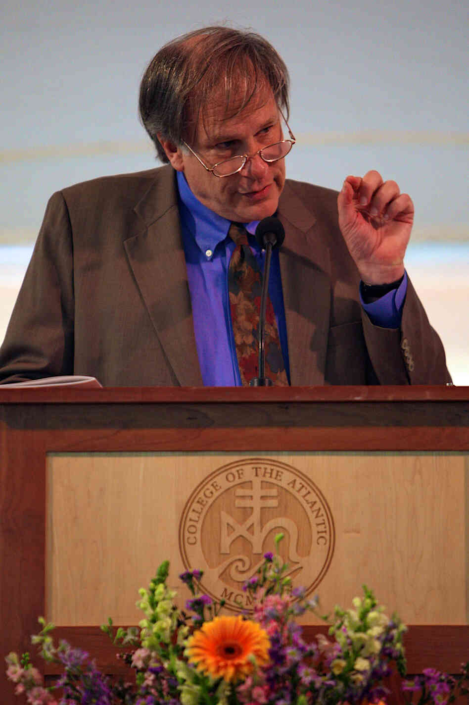 Robert Krulwich delivers the commencement address at College of the Atlantic in Bar Harbor, Maine, on June 2.