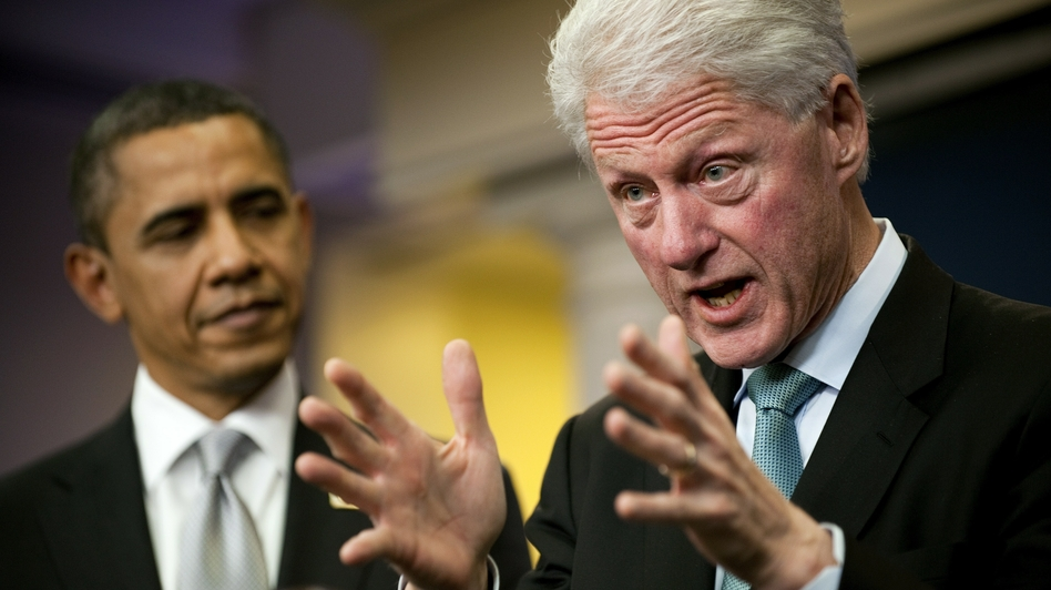 Bill Clinton speaks with President Obama in the White House Briefing Room after a private meeting in the Oval Office in 2010. The former president has become Obama's highest-profile advocate this campaign season.