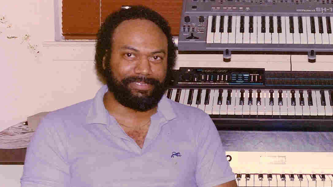 Electronic soul artist Jeff Phelps with his synthesizers.