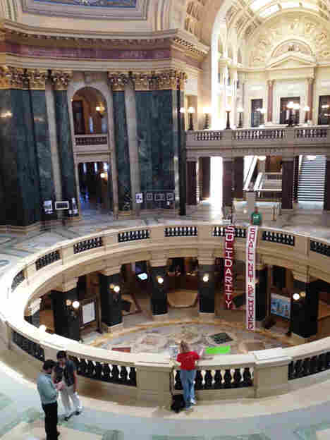 The state Capitol rotunda, scene of the upheaval and tumult following Gov. Scott Walker's rollback of public union collective bargaining rights, on Monday.