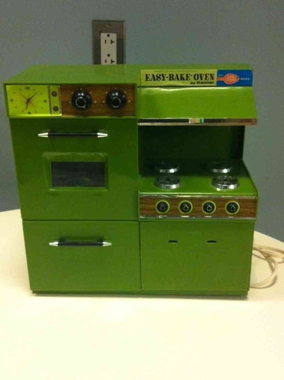 "This 1971 Easy-Bake carries a Betty Crocker logo, part of a marketing partnership. But as one former Easy-Baker remembers, the just-add-water mix packets often ""turned into glop"" instead of baking properly."