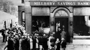 This photo dated October 24th, 1929, shows a view of people rushing to a saving bank in Millbury, Massachusetts as the stock market on Wall Street crashed, sparking a run on banks that spread across the country.