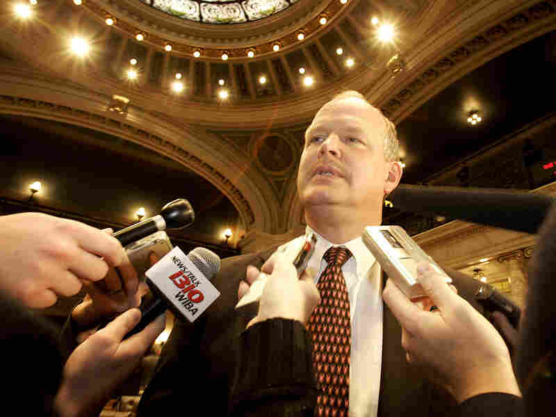 Last year, Dale Schultz was the only Republican state senator to vote against Gov. Scott Walker's rollback of public union collective bargaining rights. Here, he speaks to reporters at the state Capitol in 2006.