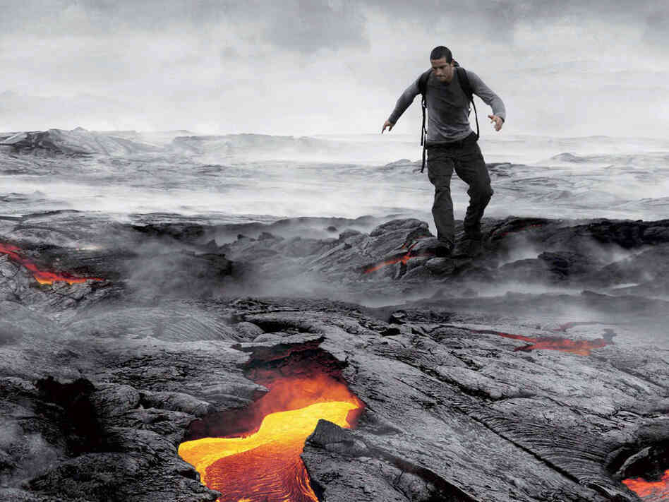 Bear Grylls shows off his wilderness survival skills in his TV series Man Vs. Wild on Discovery.