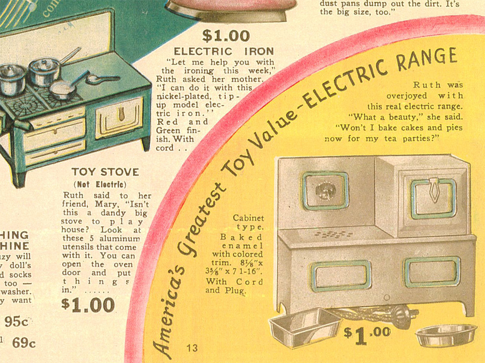 When electric ranges replaced wood and gas in the kitchen, oven toys followed suit, as seen in this Billy & Ruth toy catalog from 1935.