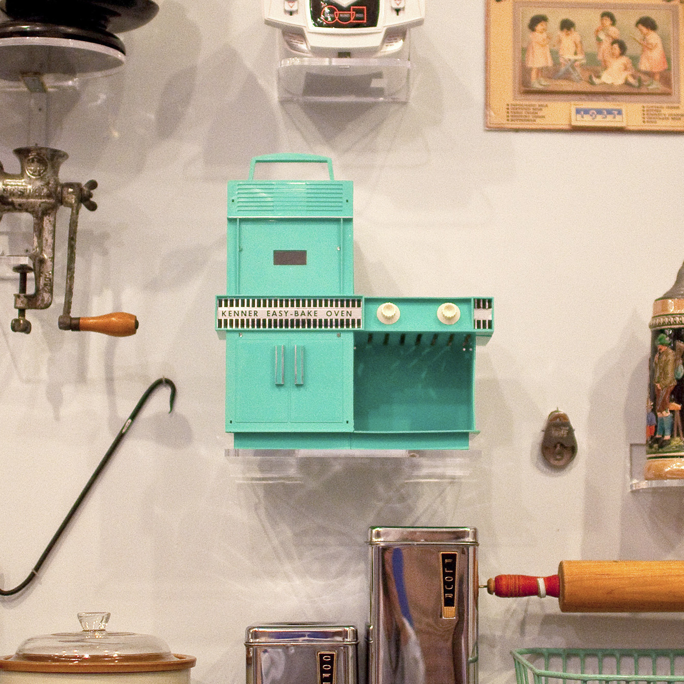 "The original boxy, turquoise, incandescent Easy-Bake has pride of place among kitchen appliances at the National Building Museum's House and Home exhibit. ""It's something people always point at,"" says curator Sarah Leavitt. ""It inspires a lot of love and nostalgia."""