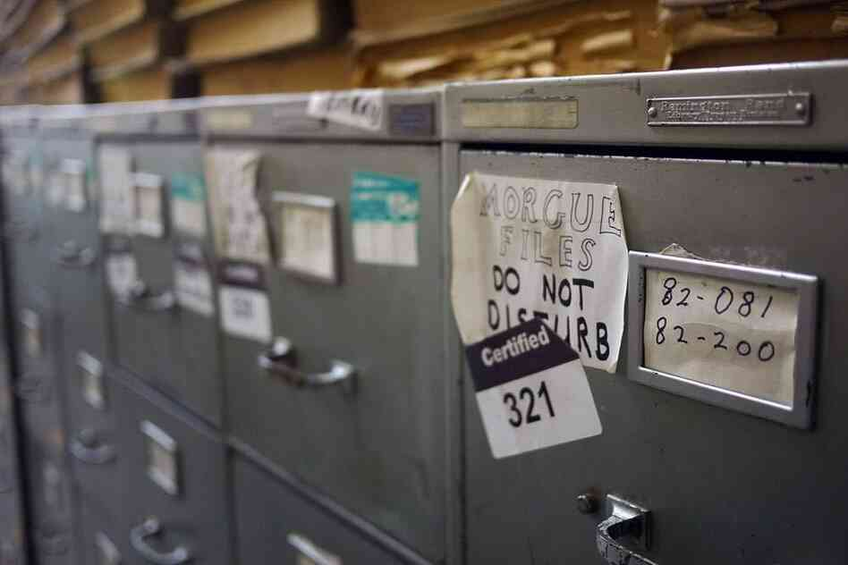 The filing cabinets in The New York Times' morgue
