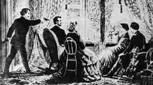 An illustration of Lincoln's assassination.