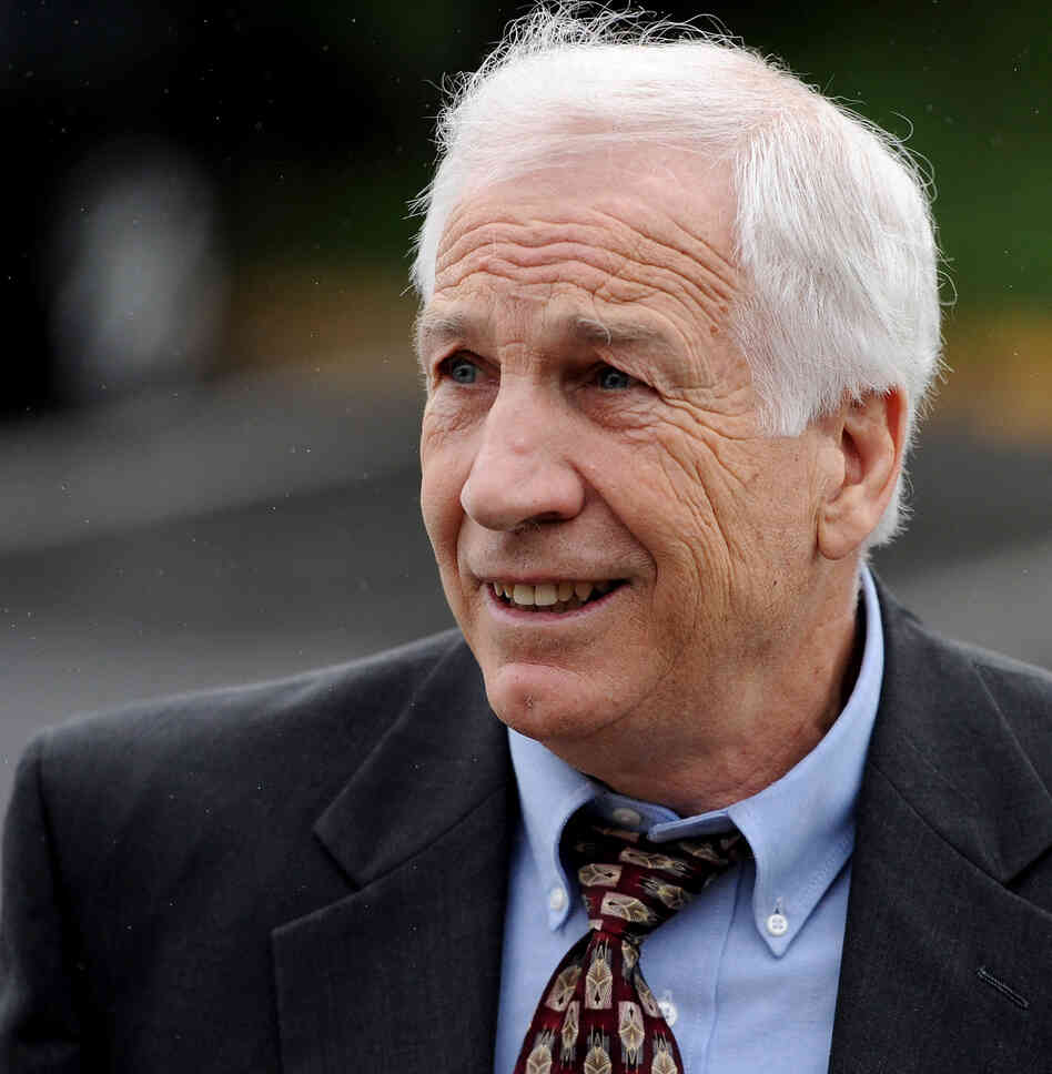Former Penn State assistant football coach Jerry Sandusky as he arrived at a courthouse in Bellefonte, Pa., this morning.