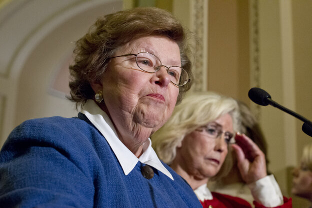 """Sen. Barbara Mikulski, D-Md., and Lilly Ledbetter, right, the woman who has become the symbol for the workplace equality movement, face reporters at the Capitol as the Senate considers the """"Paycheck Fairness Act,"""" on Tuesday"""