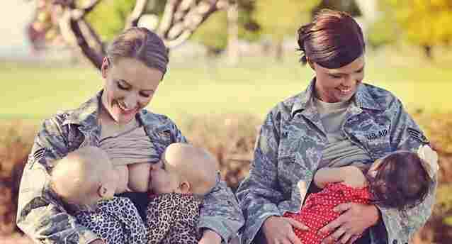 Terran Echegoyen-McCabe and Christina Luna breast-feed their children at Fairchild Air Force Base in Spokane, Wash.