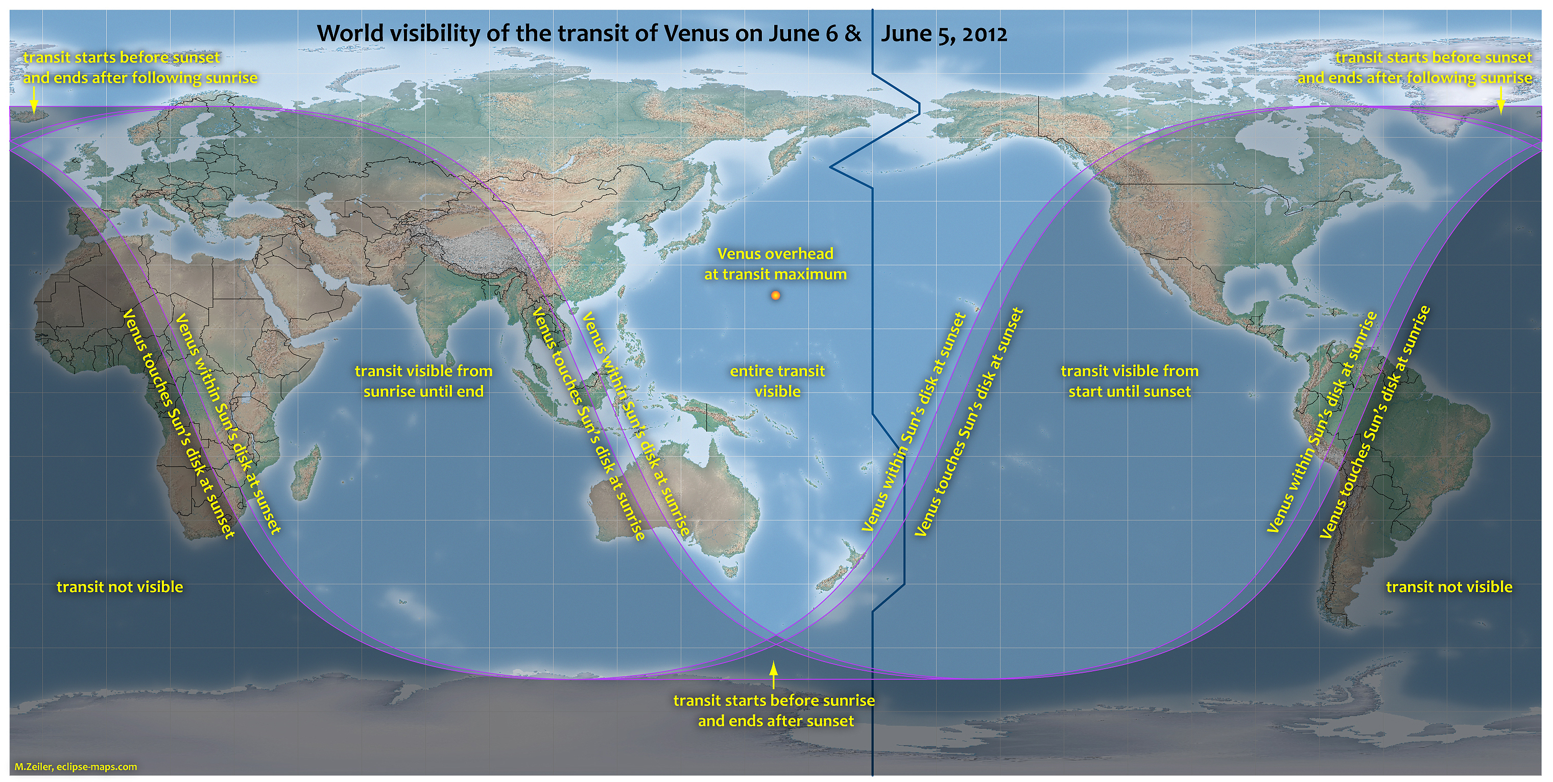 This map provided by NASA shows the visibility for Tuesday's transit of Venus. Click here for information on the best viewing times for your location.