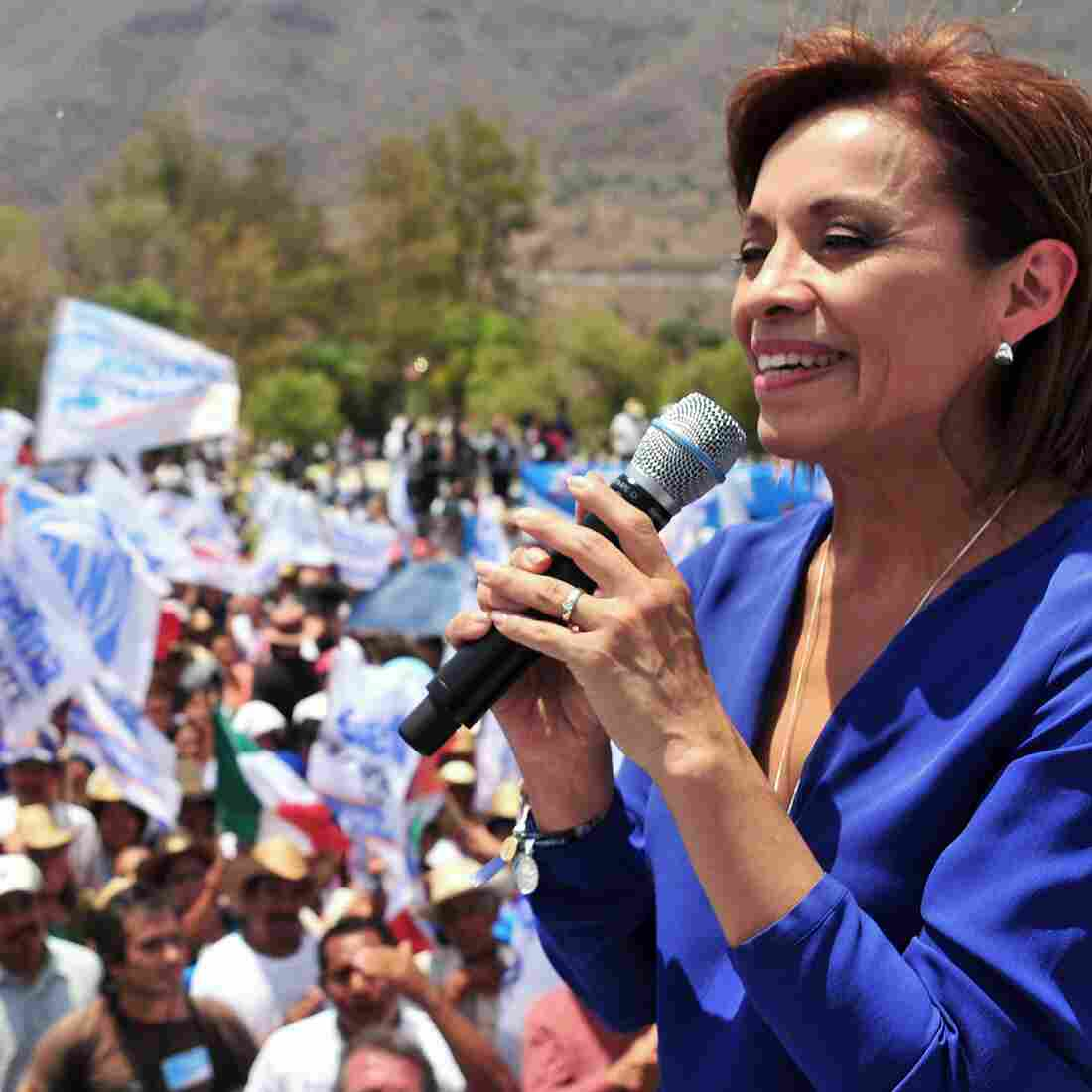 Josefina Vazquez Mota, presidential candidate from the ruling National Action Party, or PAN, delivers a speech during an electoral rally in Jocotepec, in the state of Jalisco, in May.