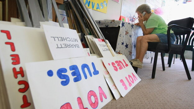 Getting out the vote: In Janesville, Wis., on Monday, Democrat Wanda Sonnentag was calling voters.