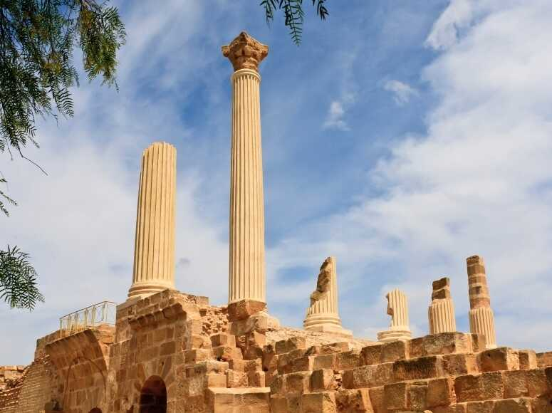 A reconstruction of old columns at Carthage in Tunisia.