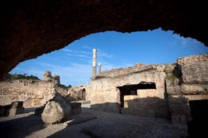 The ruins of the Roman baths in Carthage, just outside the Tunisian capital Tunis.