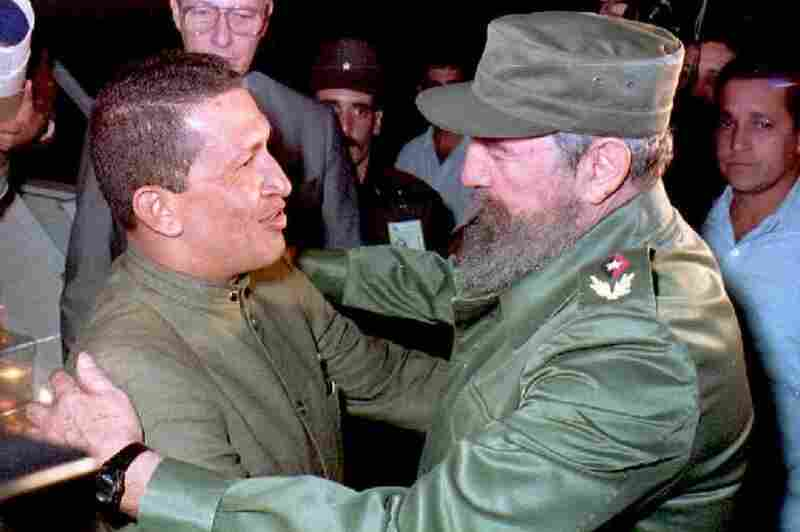Cuban President Fidel Castro greets Chavez upon his arrival in Havana in December 1994. The two leaders were steadfast allies.