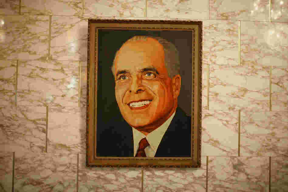 A portrait of Habib Bourguiba, the founder of modern Tunisia and its first president, hangs in the presidential palace.