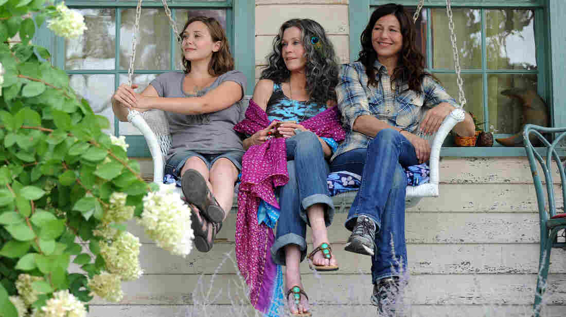 A big-city lawyer (Catherine Keener, right) must adjust to the hippie lifestyle when she and her daughter (Elizabeth Olsen, left) go to Woodstock to visit her mother (Jane Fonda) in Peace, Love & Misunderstanding.