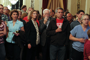 Barrett's supporters watch early election returns June 5, in Milwaukee.