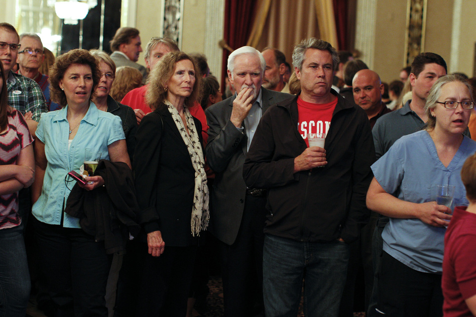 Barrett's supporters watch early election returns June 5, in Milwaukee. (Getty Images)