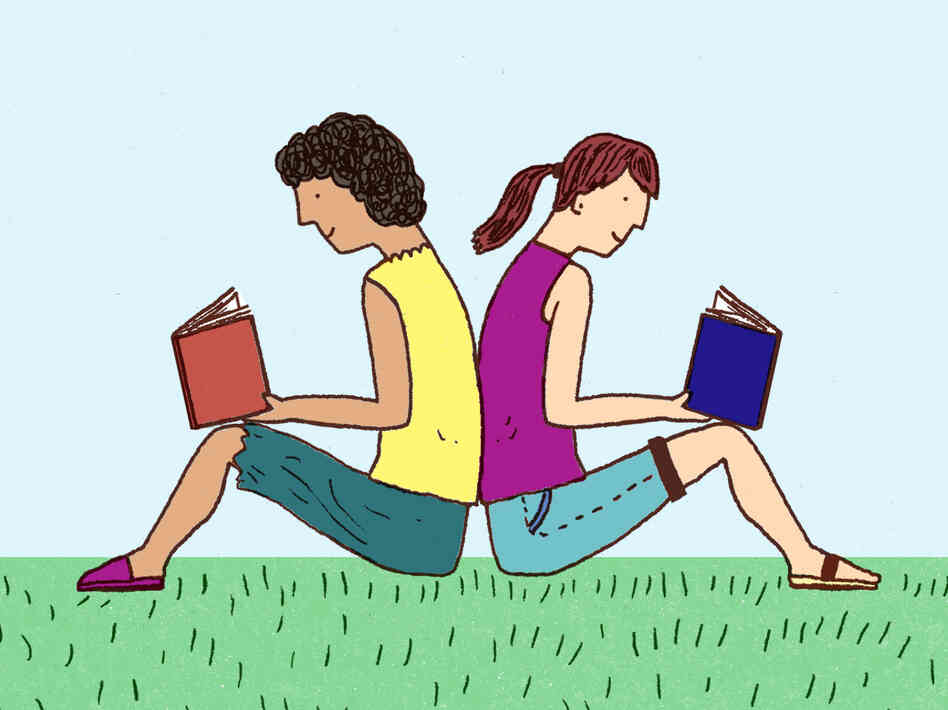 Illustration: Two teens sit back-to-back, reading books.