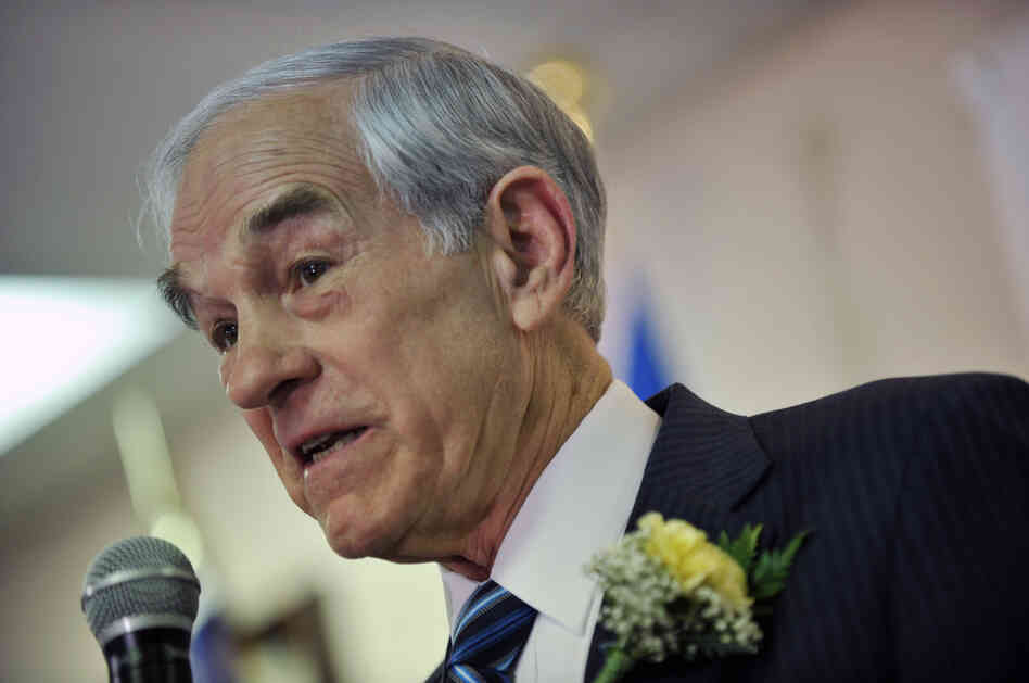 Republican presidential hopeful Ron Paul speaks in this February file photo during an event
