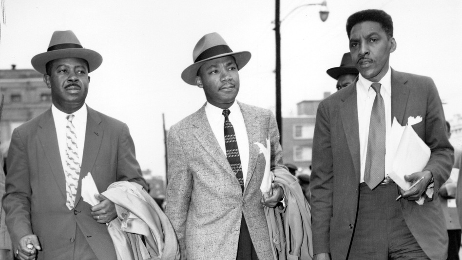 The Rev. Ralph Abernathy (from left), the Rev. Dr. Martin Luther King Jr. and Bayard Rustin leave the Montgomery (Ala.) County Courthouse in 1956. Rustin, who was gay, was the main organizer of the 1963 March on Washington. (AP)