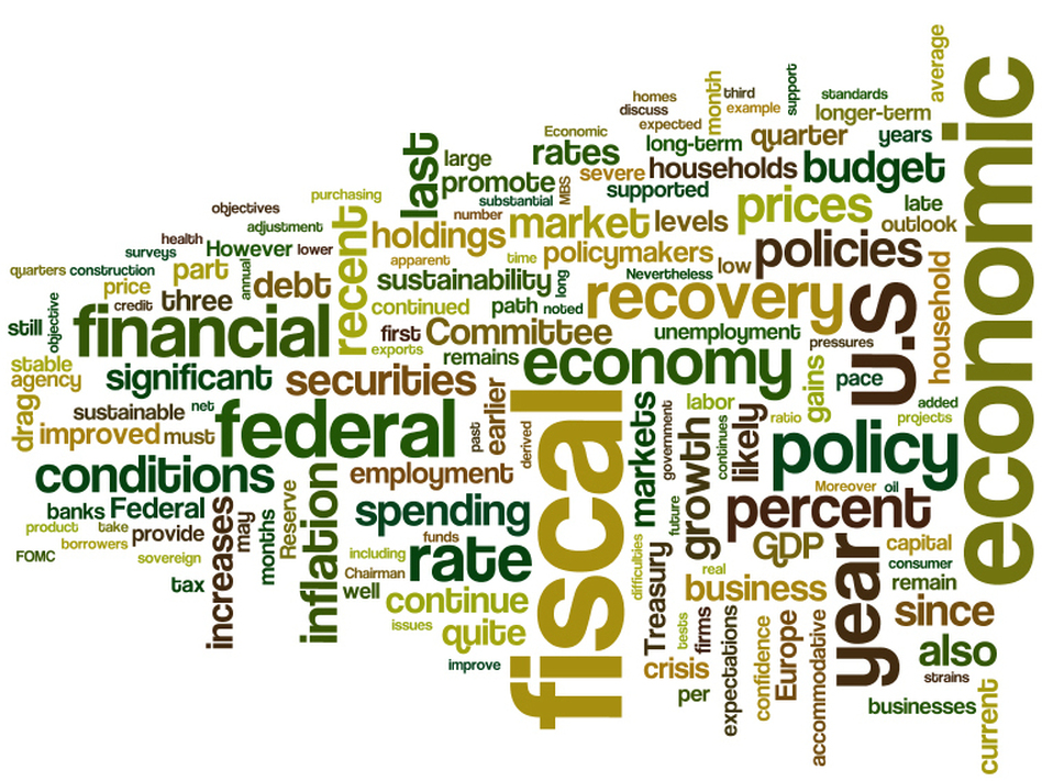 A word cloud of Federal Reserve Chairman Ben Bernanke's prepared testimony to the congressional Joint Economic Committee.