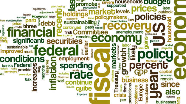 A word cloud of Federal Reserve Chairman Ben Bernanke's prepared testimony to the congressional Joint Economic Committee. (wordle.net)