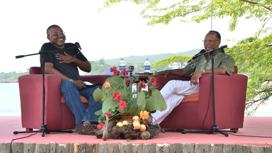 Calabash co-founder Kwame Dawes (left) facilitates a discussion with author and sociology scholar Orlando Patterson at this year's Calabash International Literary Festival in Treasure Beach, Jamaica. ( )