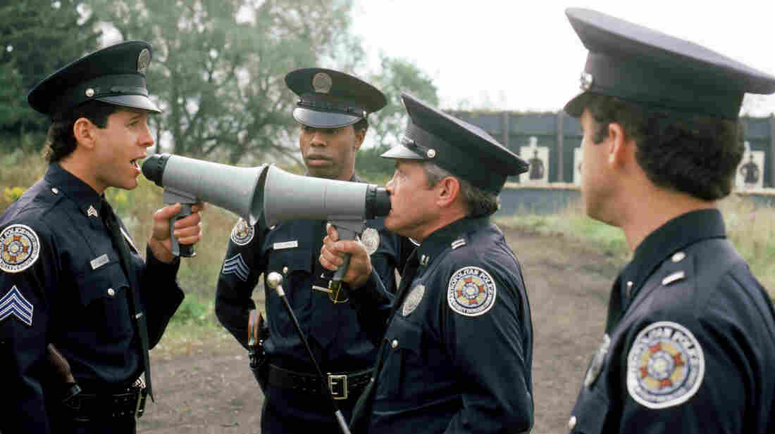Steve Guttenberg (left), Michael Winslow (center) and G.W. Bailey star in 1987's Police Academy 4: Citizens On Patrol, part of the film franchise launched by 1984's Police Acad