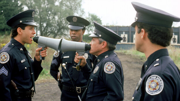 Steve Guttenberg (left), Michael Winslow (center) and G.W. Bailey star in 1987's Police Academy 4: Citizens On Patrol, part of the film franchise launched by 1984's Police Academy.