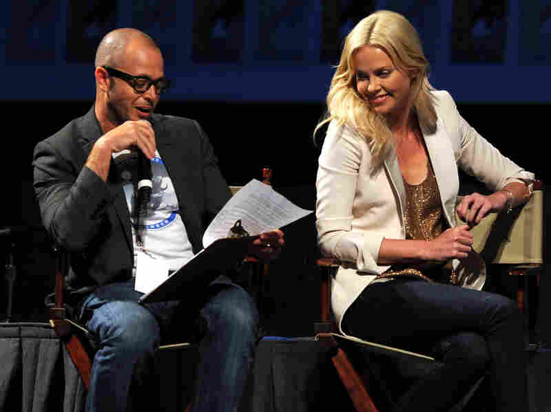 Damon Lindelof moderated a conversation with Charlize Theron, who stars in the new Ridley Scott thriller Prometheus, at the 2011 Comic-Con. Lindelof co-wrote the film.